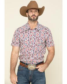 Rock & Roll Denim Men's Red Aztec Print Short Sleeve Western Shirt , Teal, hi-res