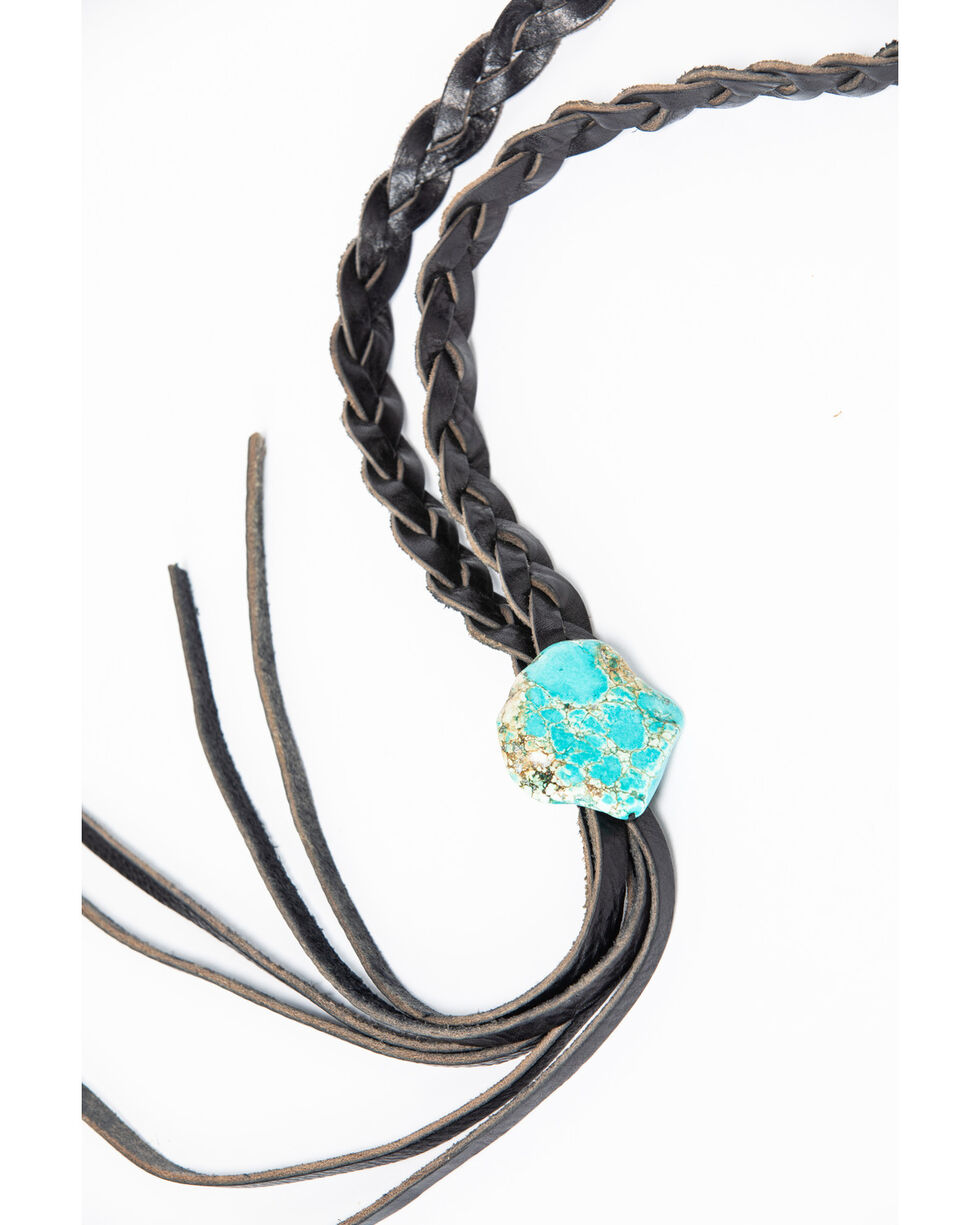 Jewelry Junkie Women's Braided Leather Lasso Necklace with Turquoise Slab, Black, hi-res
