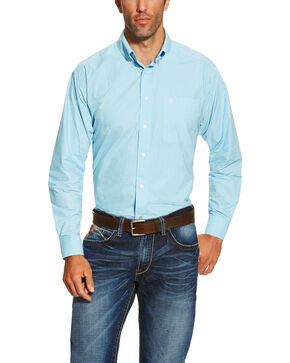 Ariat Men's Mini Check Long Sleeve Shirt, Light Blue, hi-res