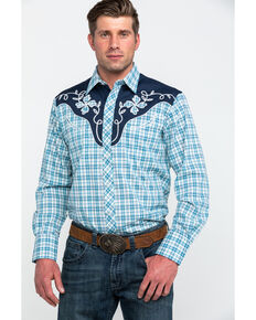 4967d9ea Roper Mens Small Fancy Plaid Long Sleeve Western Shirt , Blue, hi-res