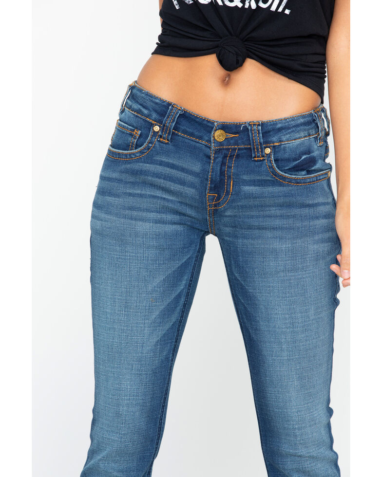"""Rock & Roll Cowgirl Women's Curved """"V"""" Trouser Jeans , Blue, hi-res"""