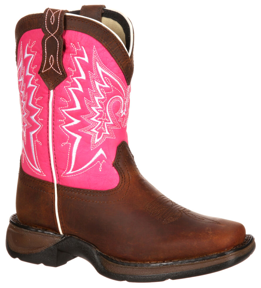 Lil' Durango Girls' Let Love Fly Western Boots - Square Toe, Brown, hi-res