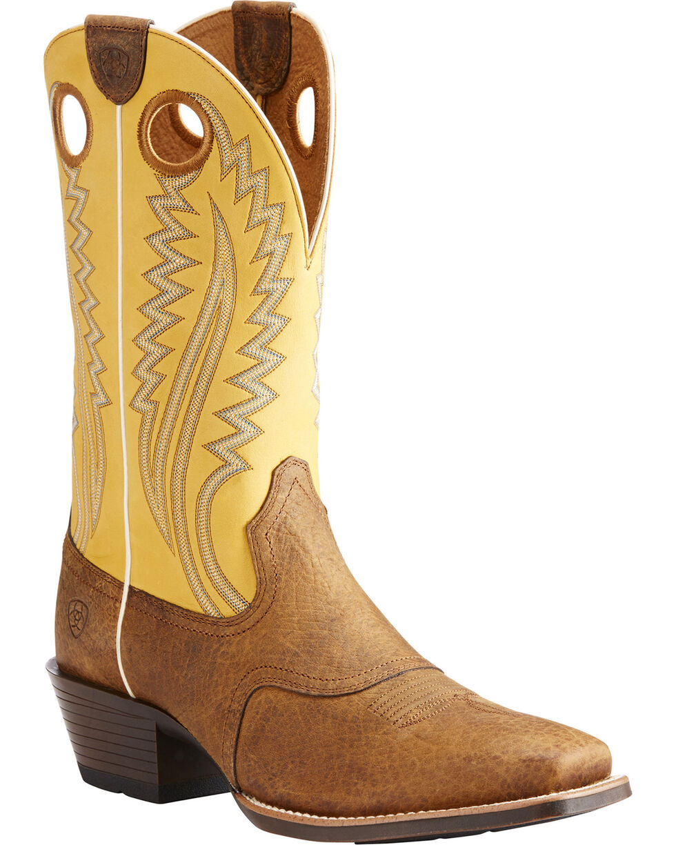 Ariat Men's High Desert Roughstock Cowboy Boots - Square Toe, Tan, hi-res