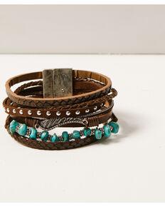 Shyanne Women's Autumn Sunset Leather Bracelet , Silver, hi-res