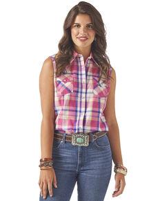 Wrangler Women's Pink Plaid Button Sleeveless Western Shirt, Pink, hi-res