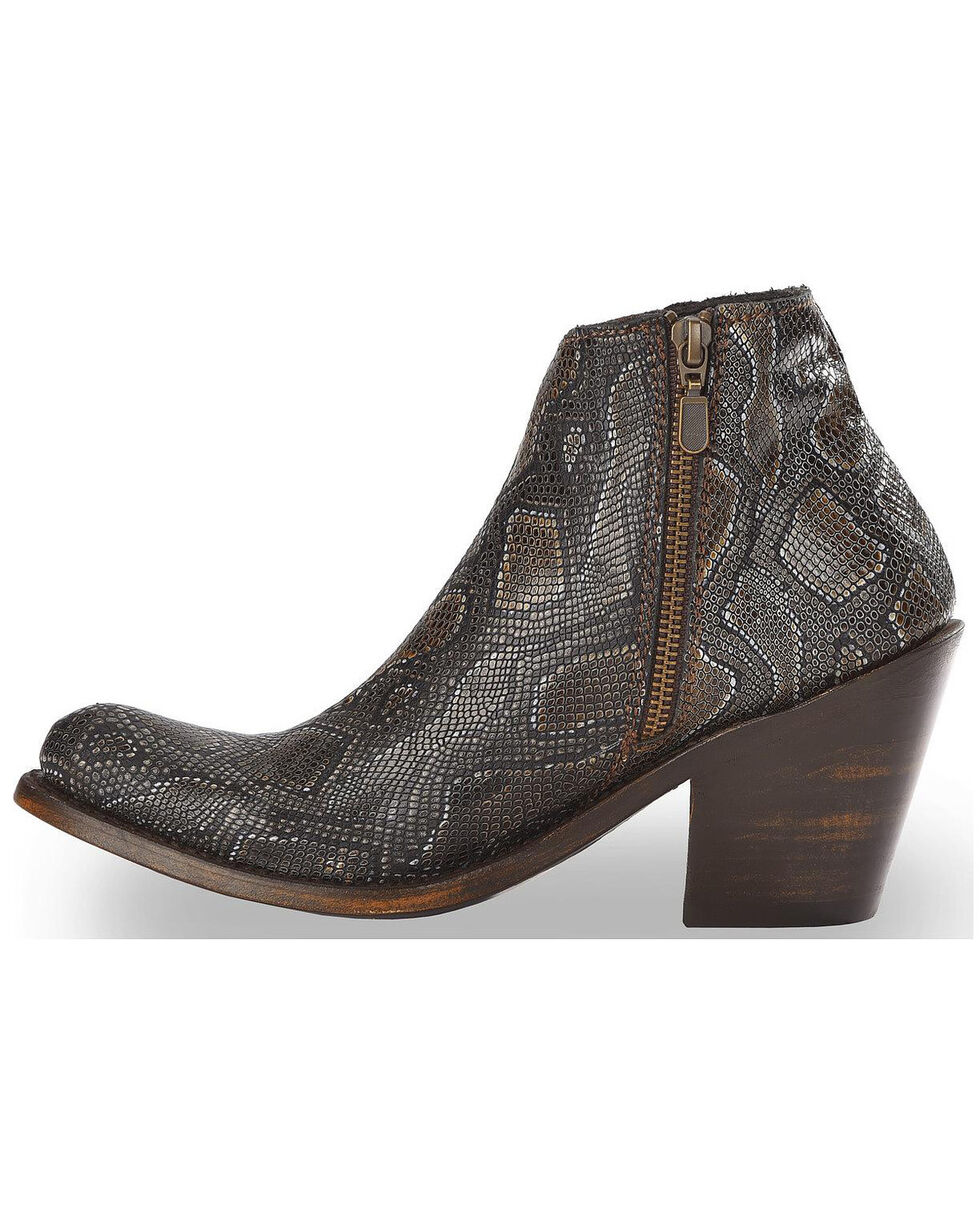 Liberty Black Women's Breton Snake Print Booties - Round Toe, Dark Brown, hi-res