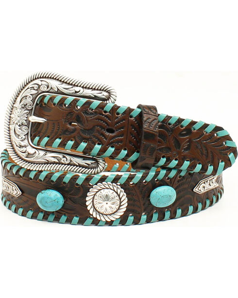 Nocona Women's Floral Tooled Turquoise Leather Belt, Brown, hi-res
