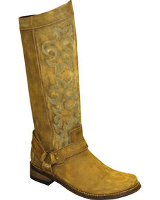 """Rawhide by Abilene Women's 12"""" Tall Side Zipper Harness Boots - Round Toe, Brown, hi-res"""