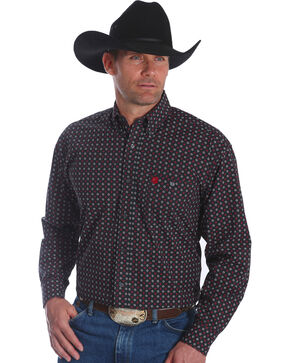 Wrangler Men's Black George Strait Print Long Sleeve Shirt , Black, hi-res