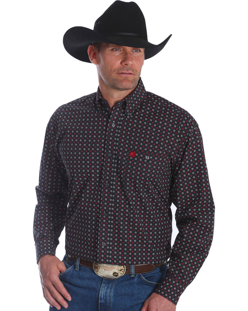 George Strait by Wrangler Men's Black Print Western  Long Sleeve Shirt , Black, hi-res