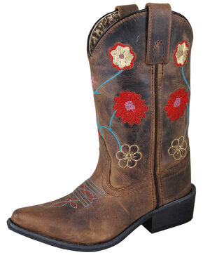 Smoky Mountain Girls' Fleur Western Boots - Snip Toe, Brown, hi-res