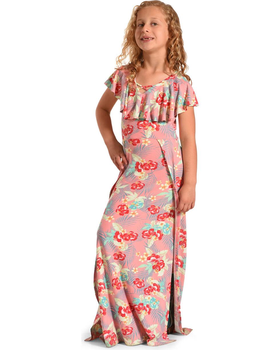 Derek Heart Girls' Pink Sleeveless Floral Print Dress , Pink, hi-res