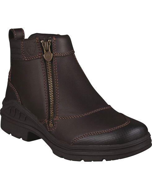 Ariat Waterproof Barnyard Zip Riding Boots - Round Toe, Dark Brown, hi-res