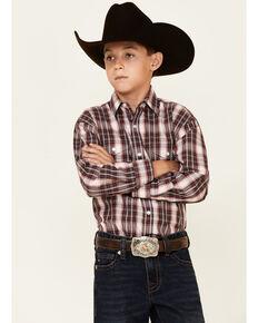Panhandke Boys' Maroon Plaid Snap Front Long Sleeve Western Shirt, Maroon, hi-res