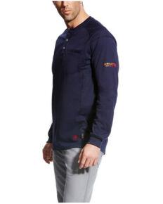 Ariat Men's FR Navy Air Henley Long Sleeve Work Shirt - Tall , Navy, hi-res