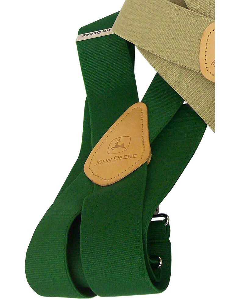 John Deere Leather Patch Suspenders, Green, hi-res