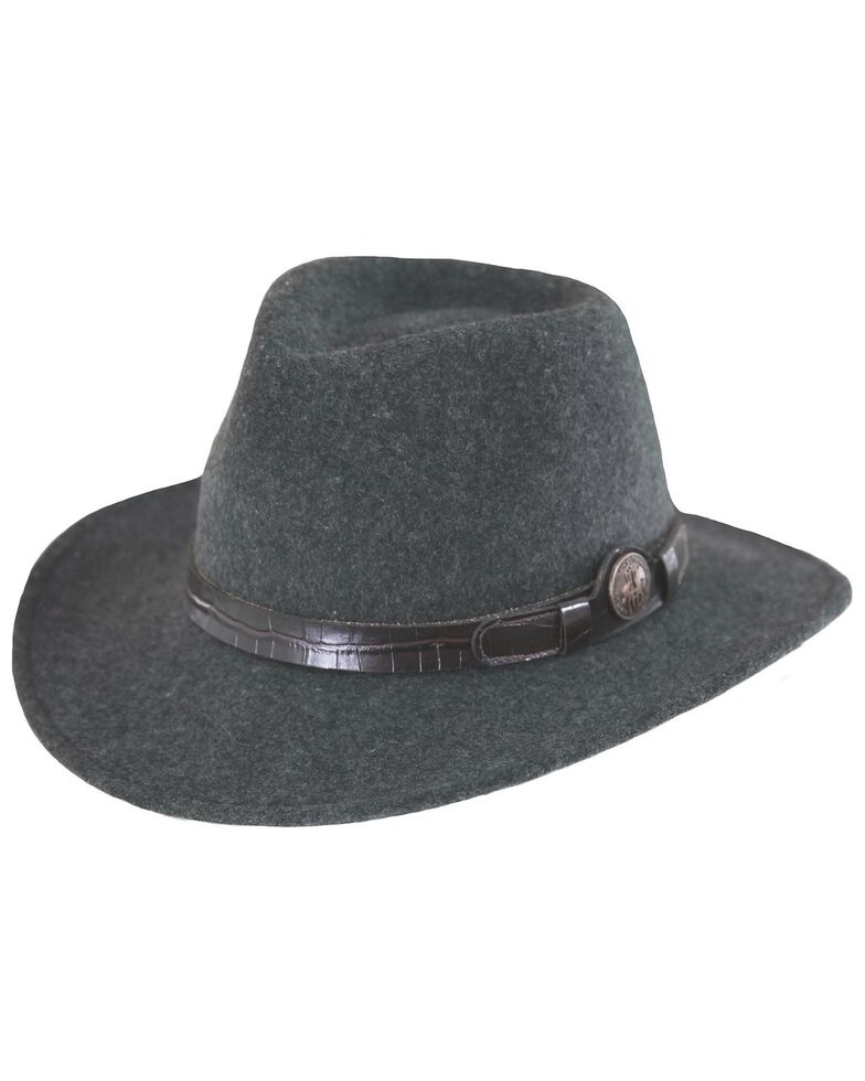 Outback Trading Co. Collingsworth UPF50 Sun Protection Crushable Wool Hat, Gray Cast, hi-res
