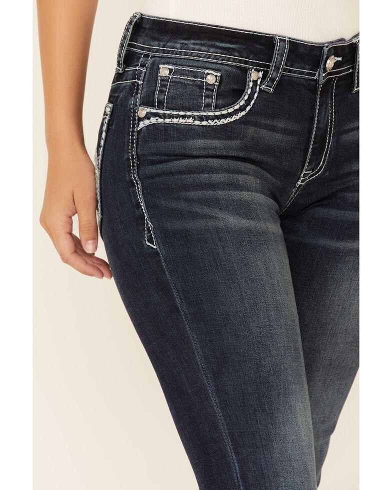Grace in LA Women's Fleur De Lis Bootcut Jeans, Dark Blue, hi-res