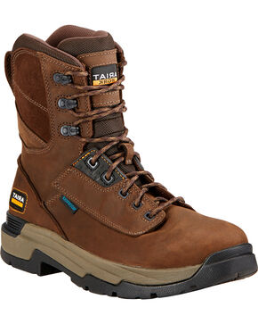 """Ariat Mastergrip 8"""" H2O Work Boots - Soft Toe , Brown, hi-res"""