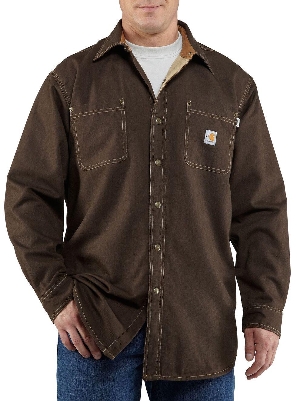 Carhartt Flame Resistant Canvas Shirt Jacket - Big & Tall, Dark Brown, hi-res