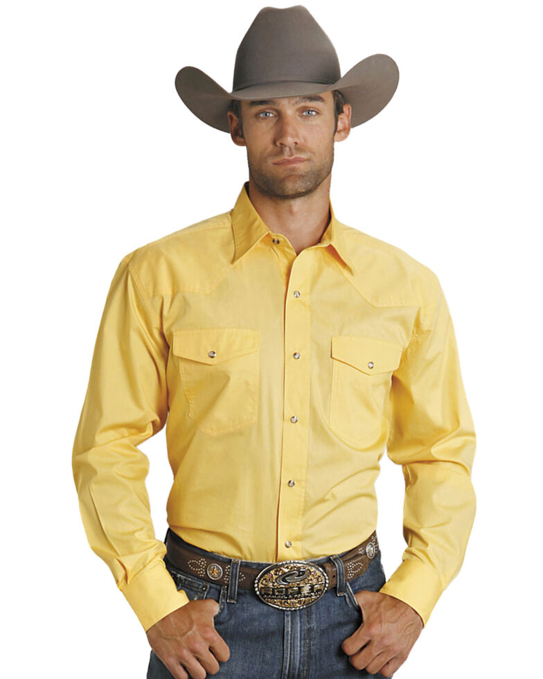 Roper Men's Amarillo Collection Solid Long Sleeve Western Shirt, Yellow, hi-res