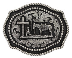 Montana Silversmiths Classic Twisted Rope & Studs Christian Cowboy Buckle , Silver, hi-res