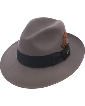 Stetson Men's Pinnacle Beaver Fur Felt Fedora, Grey, hi-res