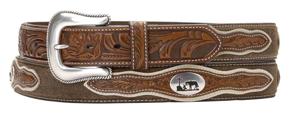 Nocona Cowboy Prayer Concho Tooled Billets Belt, Tan, hi-res
