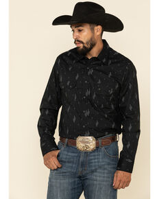 Rock & Roll Denim Men's Black Cactus Geo Print Long Sleeve Western Shirt , Black, hi-res