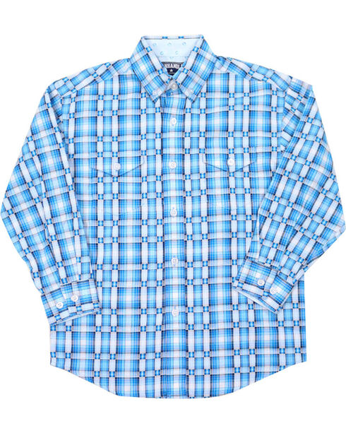 Panhandle Boys' Plaid Long Sleeve Western Shirt, Turquoise, hi-res