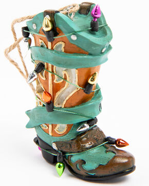 BB Ranch Turquoise Cowboy Boot Christmas Light Ornament, Turquoise, hi-res