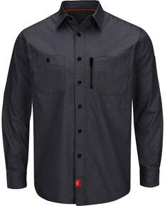 Red Kap Men's Charcoal Grey MIMIX™ Woven Long Sleeve Work Shirt , Charcoal Grey, hi-res