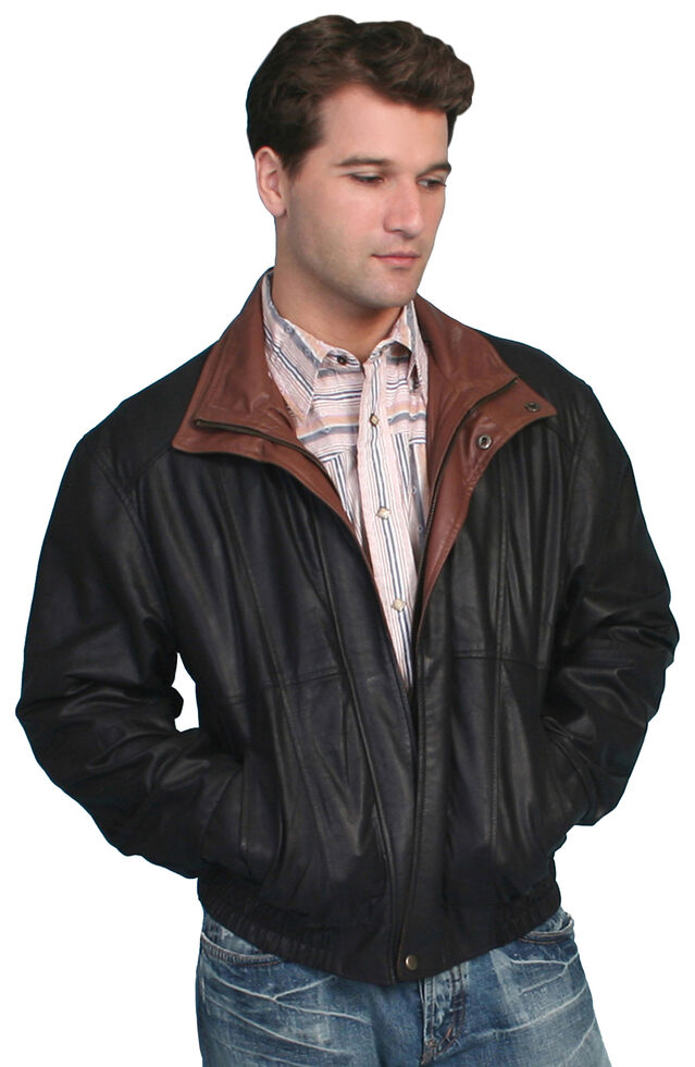 Scully Double Collar Leather Jacket, Black, hi-res