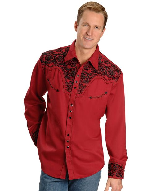 Scully Embroidered Retro Western Shirt - Big, Red, hi-res