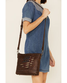 Shyanne Women's Americana Slashed Flag Crossbody Bag, Brown, hi-res