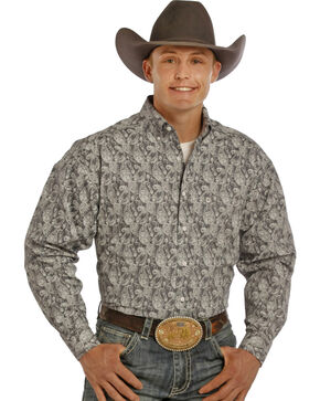 Tuf Cooper Performance Blue Paisley Western Shirt , Black, hi-res