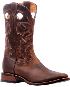 Boulet Men's Tan Spice Horseman Heel Cowboy Boots - Square Toe, Brown, hi-res