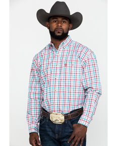 George Strait by Wrangler Men's Red Small Plaid Poplin Long Sleeve Western Shirt - Big , Red, hi-res