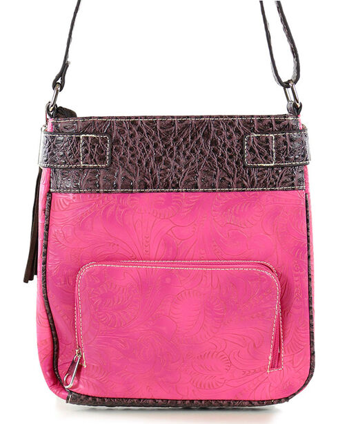 Savana Women's Hot Pink Faux Leather Tooled Crossbody Bag , Hot Pink, hi-res