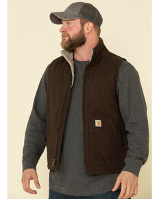 Carhartt Men's Dark Brown Washed Duck Sherpa Lined Mock Neck Work Vest , Dark Brown, hi-res