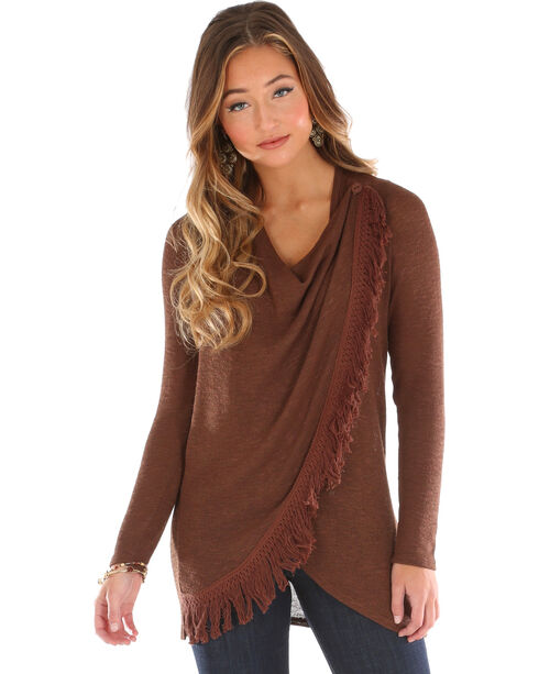 Wrangler Women's Asymmetrical Fringe Sweater, Brown, hi-res