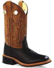 Old West Boys' Tan Western Boots - Wide Square Toe, Black, hi-res