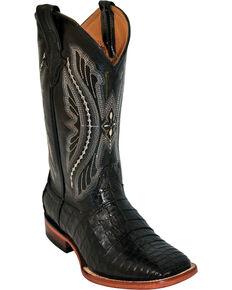 Ferrini Black Caiman Belly Cowboy Boots - Wide Square Toe, Black, hi-res