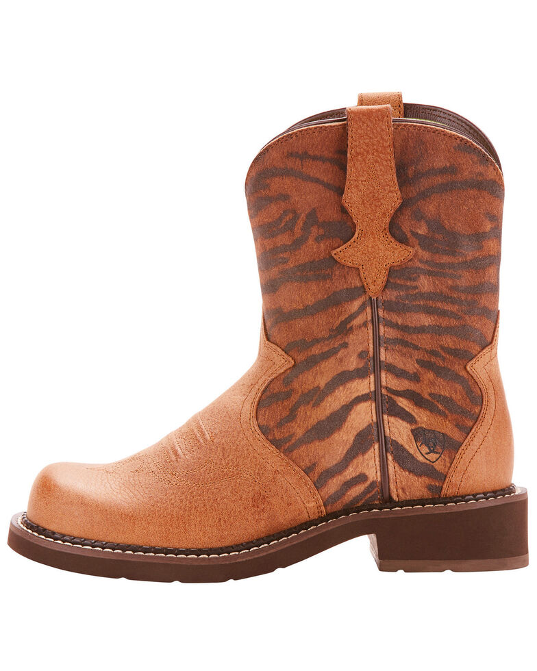 Ariat Fatbaby Women's Heritage Trio Vintage Tiger Print Cowgirl Boots - Round Toe, Tan, hi-res