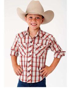 8e0818d0f Roper Boys Red Plaid Long Sleeve Western Shirt , Red, hi-res