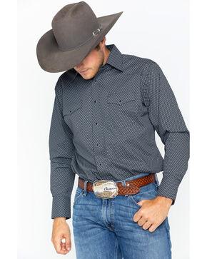 Wrangler Men's Geo Print Silver Edition Long Sleeve Shirt , Black, hi-res