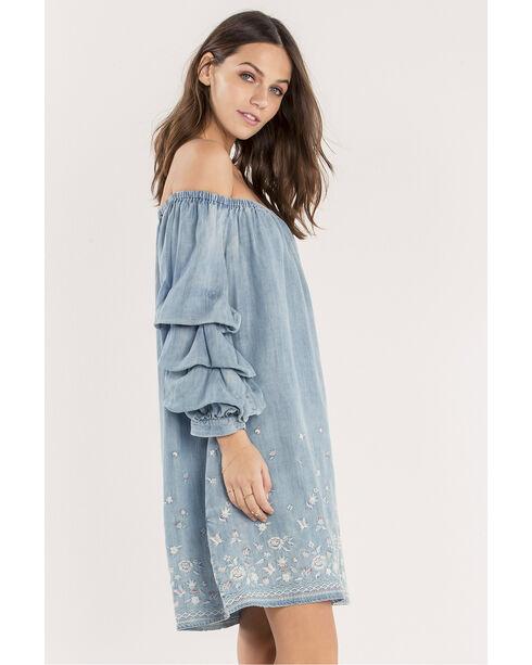 Miss Me Off the Shoulder Embroidered Denim Dress , Indigo, hi-res