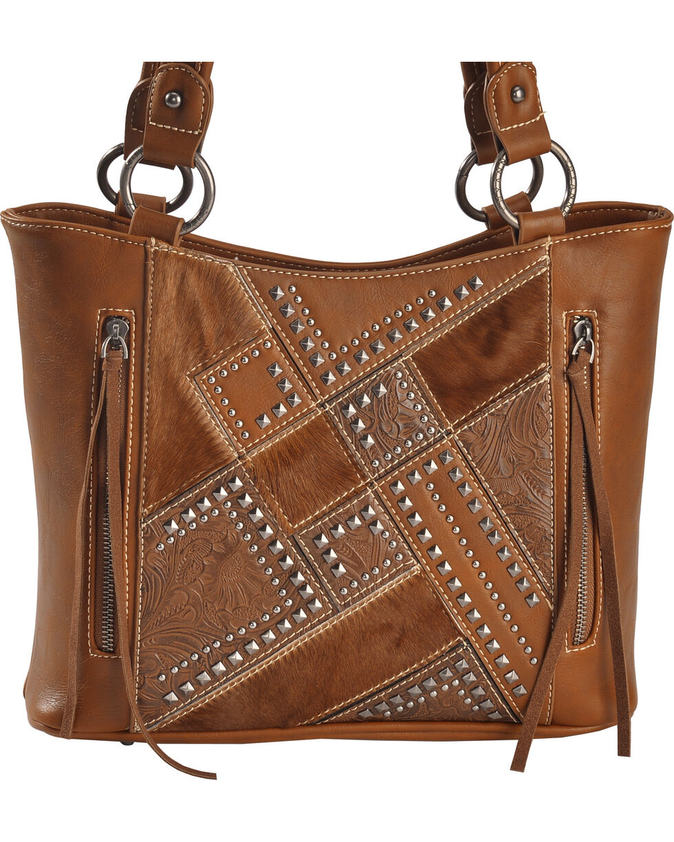 Shyanne Women's Tooled Hair-On Calf Patchwork Concealed Handgun Tote Bag, , hi-res