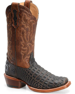 Double H Cattle Baron Croc Print Western Boots - Square Toe, Brown, hi-res