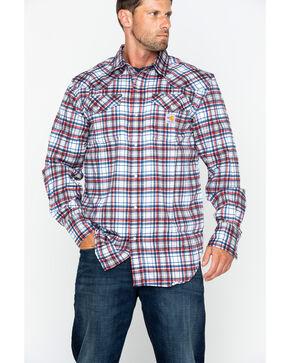 Carhartt Men's Plaid Navy Flame-Resistant Snap-Front Shirt , Navy, hi-res